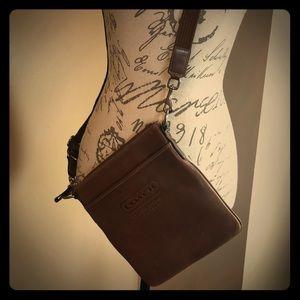 COACH cross body brown leather purse